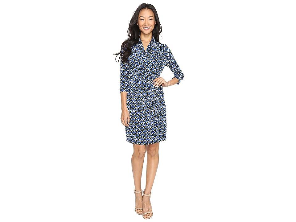 Karen Kane 3/4 Sleeve Cascade Wrap Dress (Print) Women