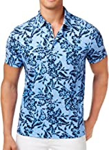 Tommy Hilfiger Custom Tailored Fit Floral Collection Cotton Polo Shirt (Blue, XX-Large)