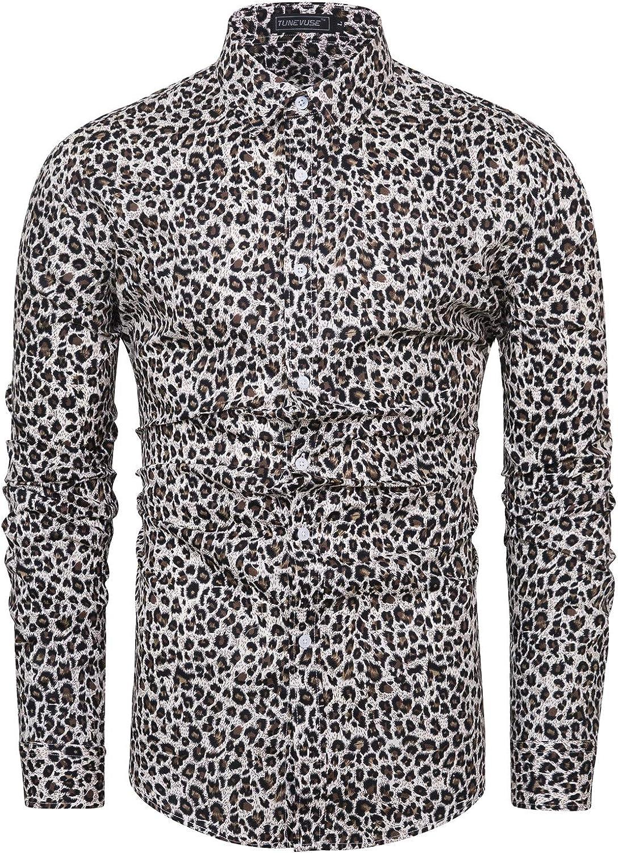 TUNEVUSE Men Leopard Shirt Casual Long Sleeve Button Down Leopard Dress Shirts
