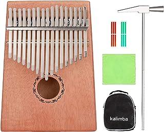 Kalimba 17 Keys Mahogany Tone Wood EQ Kalimba, Electric Finger Thumb Piano African Instrument with Instruction Tune Hammer Musical Sticker - Perfect Christmas Gift