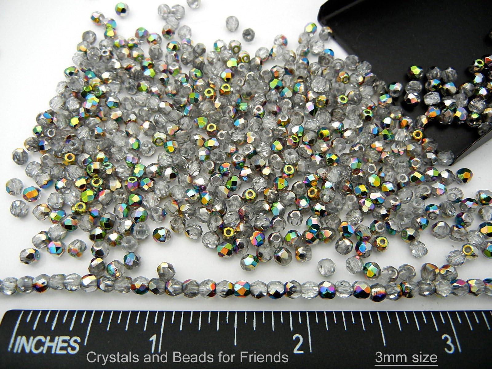 Czech Glass Firepolish Beads 50 Pcs Metallic Beads 3mm Crystal Vitrail
