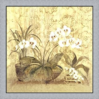 Espirit Orchid by Cheri Blum Framed Art Print Wall Picture, Flat Silver Frame, 31 x 31 inches