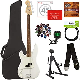 Fender Player Precision Bass, Pau Ferro, Left Handed - Polar White Bundle with Gig Bag, Stand, Cable, Tuner, Strap, Strings, Picks, Fender Play Online Lessons, and Austin Bazaar Instructional DVD