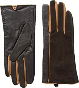 Leather/Suede Gloves w/ Pop Color Fourchettes