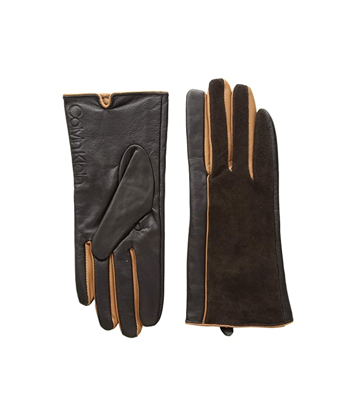 Calvin Klein Leather/Suede Gloves w/ Pop Color Fourchettes (Chocolate) Extreme Cold Weather Gloves
