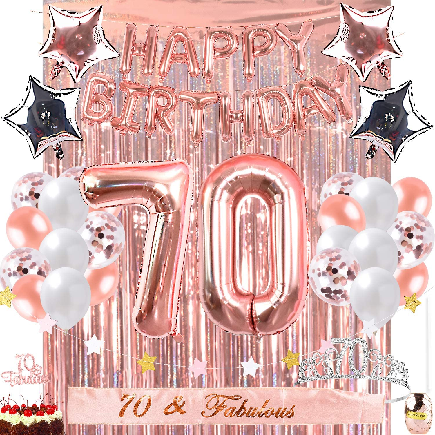 OUGOLD 70th Birthday Decorations Party 70 Fabulous Ca Choice Supplies Max 71% OFF