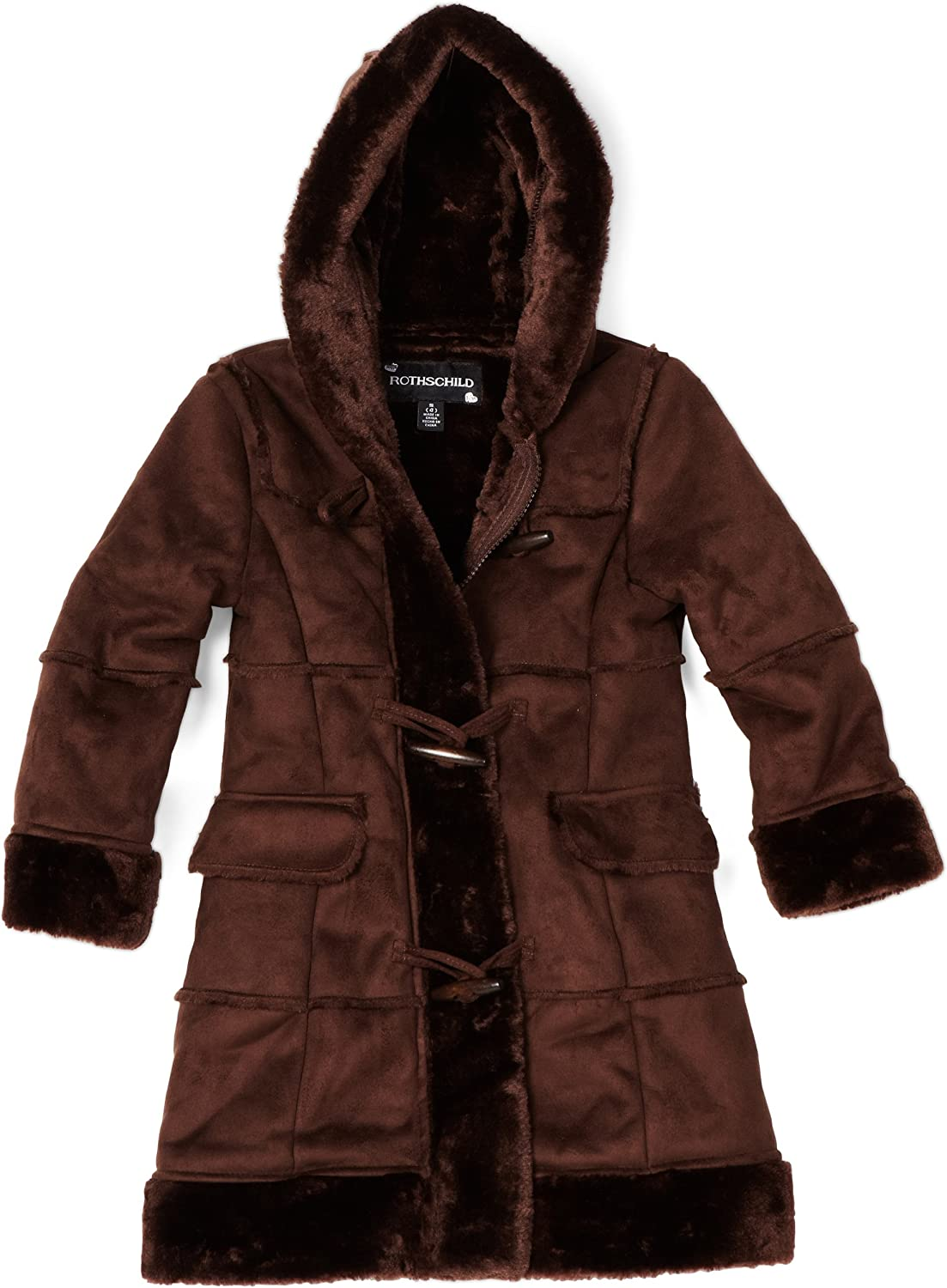 Large special price Rothschild Big Girls' Max 64% OFF Faux Coat Shearling Toggles With