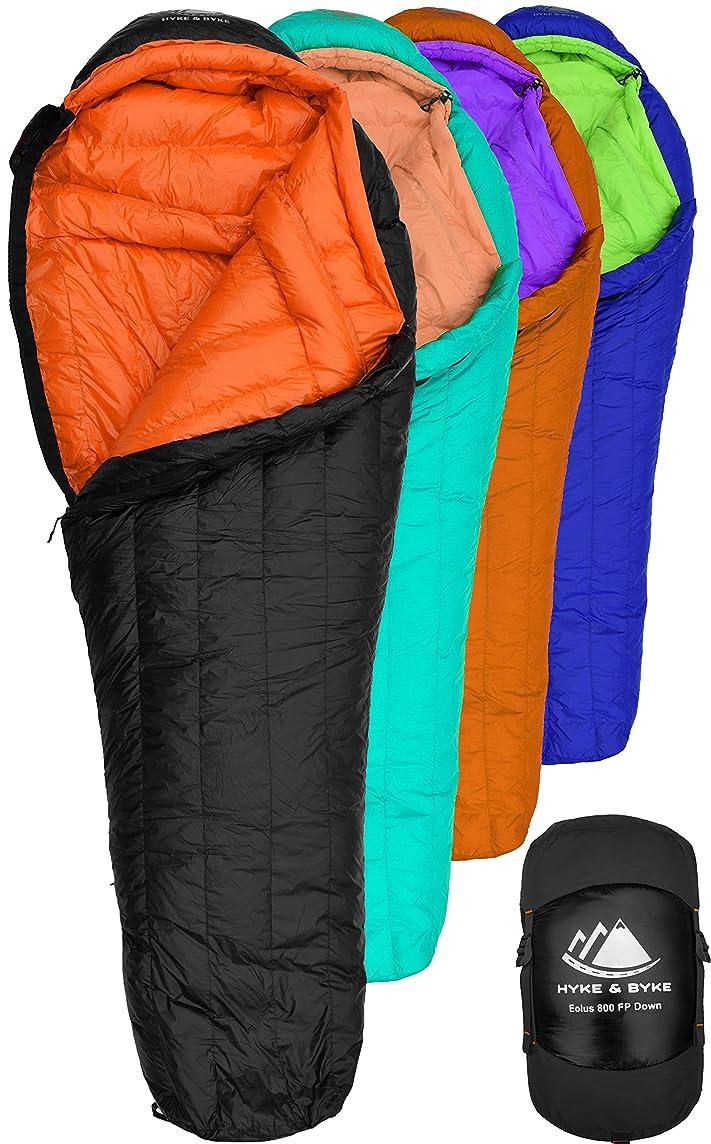 Hyke & Byke Eolus 0 Degree F 800 Fill Power Hydrophobic Goose Down Sleeping Bag with LofTech Base - Ultra Lightweight 4 Season Men's and Women's Mummy Bag Designed for Backpacking