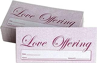 Love Offering - Church Tithe/Donation Envelopes, Burgundy, Simple Design, Easy-Open Tab, Fits Bills & Checks, Name, Date & Amount, John 3:16 KJV Verse, Choose Your Quantity (125, 250, Or 500)