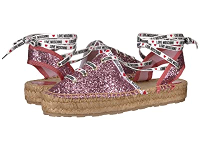 LOVE Moschino Glitter Espadrille with Laces (Pink Glitter) Women