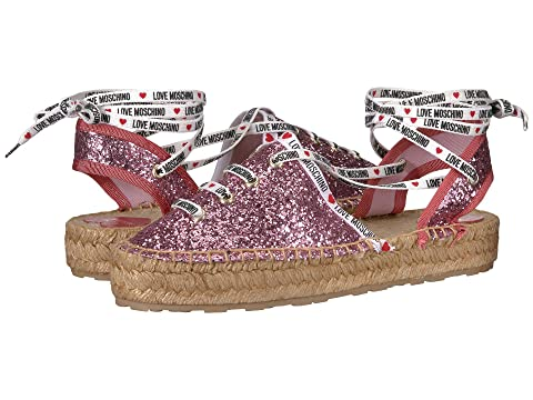 LOVE Moschino Glitter Espadrille with Laces