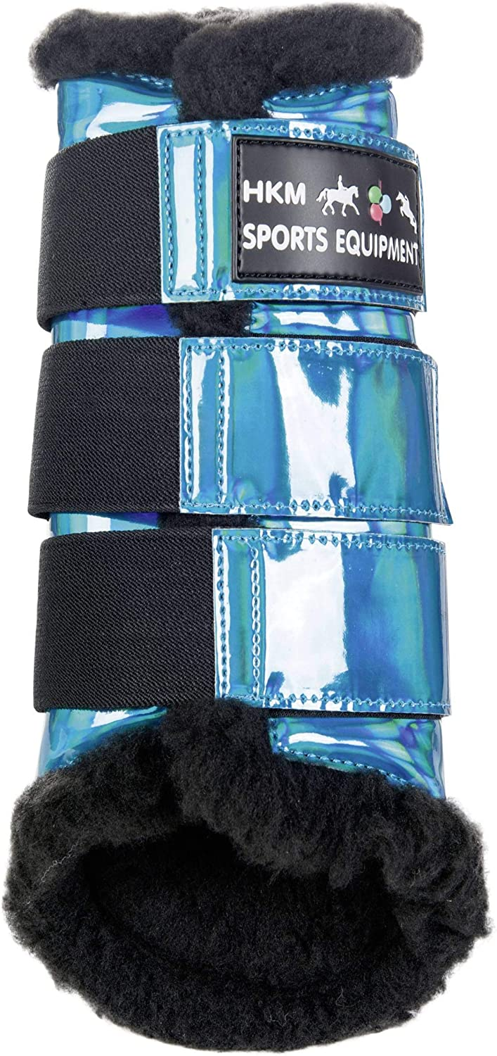 HKM PredECTION SPACE BRUSHING BOOTS  FAUX FUR LINED  HORSE PONY EQUINE (XLARGE, AQUA)