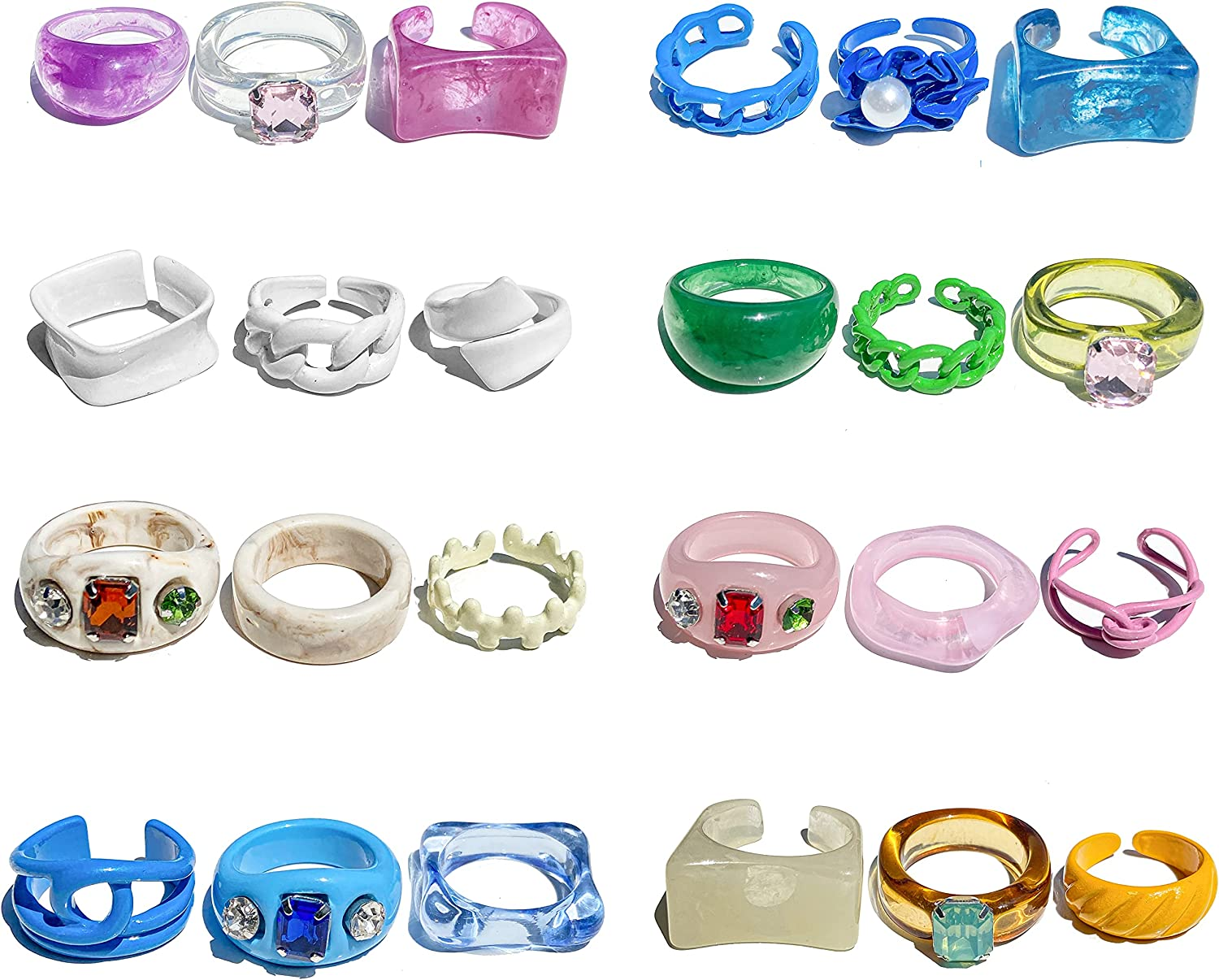 Chunky Resin Acrylic Rings for Women Girl, Chunky Rings Colorful, Statement Plastic Rings,Trendy Funky Open Stackable Finger Knuckle Y2K Rings