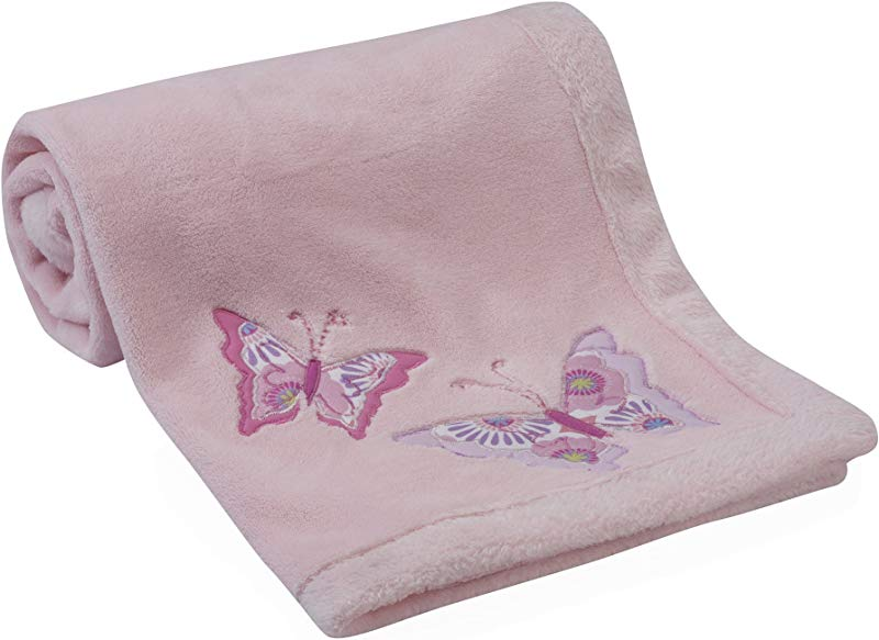 Lambs Ivy Happi By Dena Butterfly Garden Blanket Pink