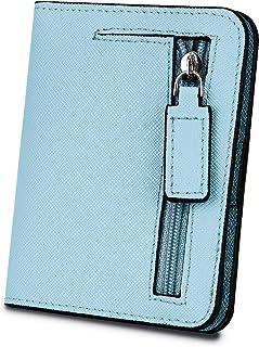 [ヤラックス]YALUXE レディース RFID ブロッキング 小さい コンパクト レザー ウォレット ミニ 財布 ID ウィンドウ クロス ライトブルー