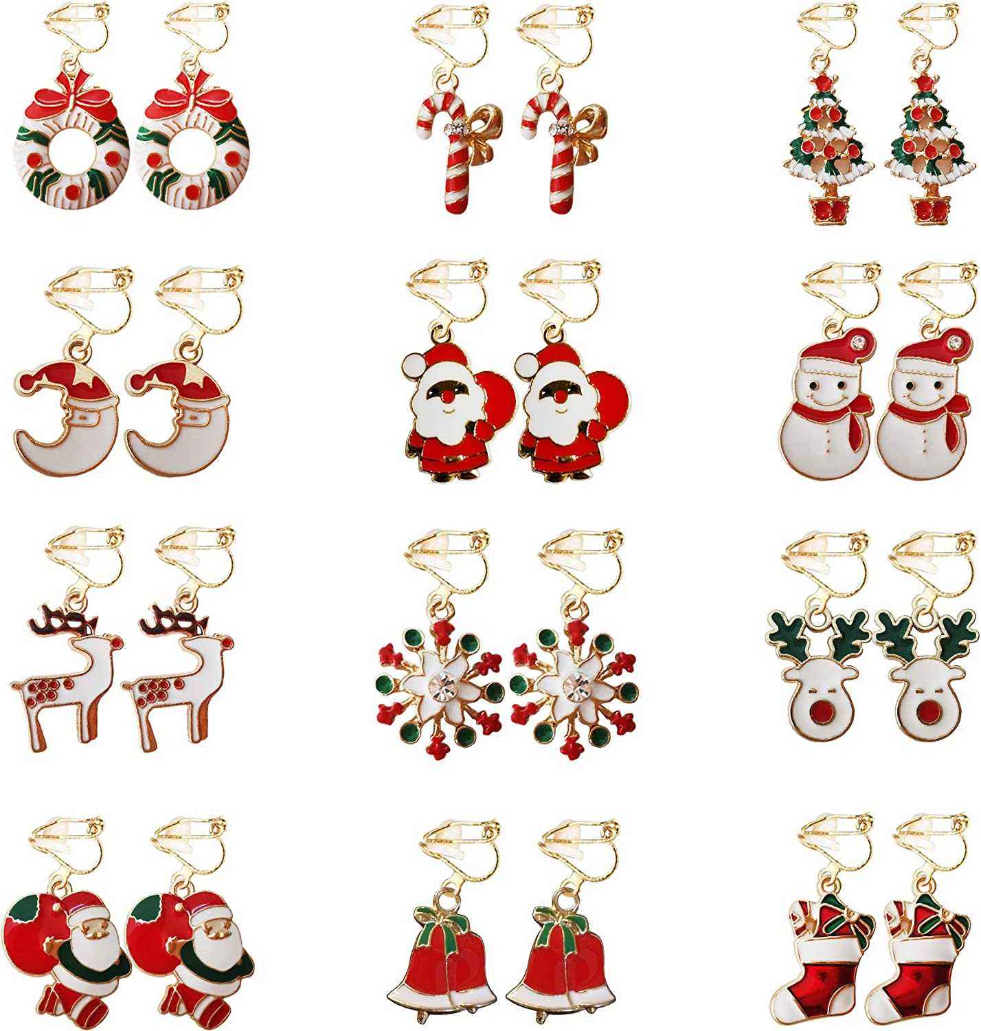12 Pairs Christmas Earrings for Women Girls Clip On Earrings Thanksgiving Xmas Holiday Jewelry Drop Dangle Earrings Set with Santa Claus Elk Snowman Stocking Tree Bell Design