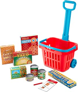 Melissa & Doug Fill & Roll Grocery Basket Play Set (Play Food, Durable Construction, 11 Pieces, Great Gift for Girls and Boys - Best for 3, 4, 5 Year Olds and Up)