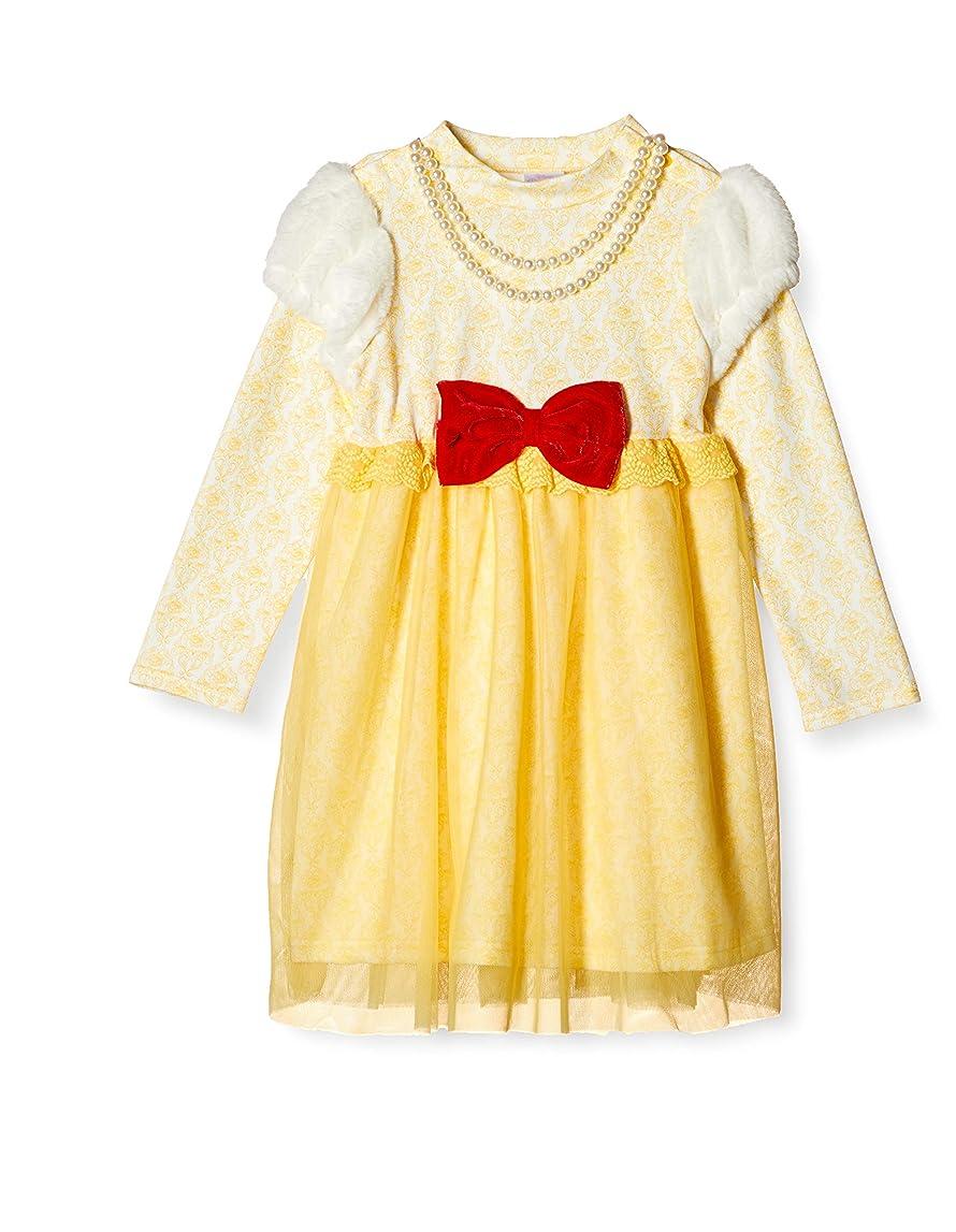 近代化摂氏のぞき穴[ディズニー] ハロウィン 美女と野獣 ベル なりきり ドレス ネックレス付き 女の子 イエロー 100