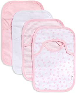 Burt's Bees Baby - Bibs, 4-Pack Lap-Shoulder Drool Cloths, 100% Organic Cotton with Absorbent Terry Towel Backing (Blossom Variety)