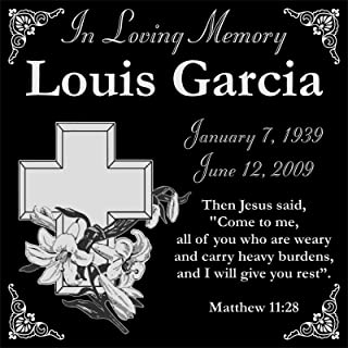 Lazzari Collections Customized Personalized Christian Personal Memorial 12x12 Inch Engraved Granite Grave Marker Headstone with Lily and Cross LG1