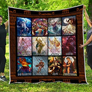 VTH Global Greek Mythological Gods Quilt Pattern Blanket Comforters with Reversible Cotton King Queen Full Twin Size Quilted Romantic Birthday Wedding for Wife from Husband Kids