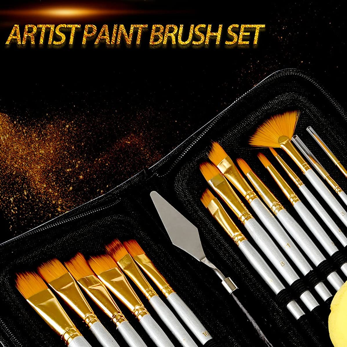 Kesoto Paint Brush Set - 15 Different Shapes & Sizes - Free Painting Knife & Watercolor Sponge - No Shed Bristles - Wood Handles - for Body Paint, Acrylics & Oil