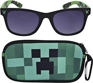 Minecraft Kids Sunglasses with Kids Glasses Case, Protective Toddler Sunglasses