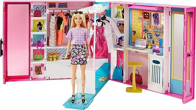 Barbie Armario de ropa muñeca con 25 accesorios de moda ...