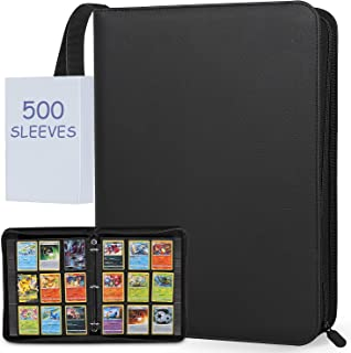 JHkim Trading Card Binder 9 Pocket - with 500PCS Card Sleeves Protectors, Baseball Card Binder Holds Up to 450 Cards, Comp...