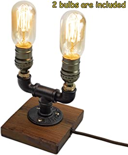 Steampunk Lamp with Dimmer, Dimmable Loft Style Industrial Vintage Antique Style Light with 2 Bulbs, Wood Base with Iron Piping Desk Lamp, Retro Desk Lamp LL-027