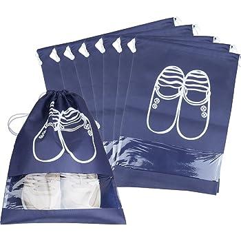 Ya Jin 10 x Dustproof Drawstring Shoes Bag with Transparent Window Shoe Organizer Storage Bags
