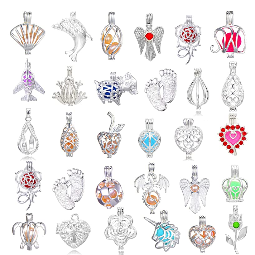 New Arrival Valentine's Day Gift 15Pcs Bright Silver Cute Wish Pearl Bead Cages Pendant Wholesale - Essential Oil Scent Diffuser Cage Charms for Bracelet Necklace Earrings Jewelry Making (15pcs)