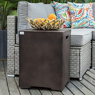 COSIEST Outdoor Hideaway Tank Table for Gas Fire Pits, Hides Standard 20 Gallon 16-inch Propane Tank, Beautiful Bronze or Hardrock Finish, Side Handles