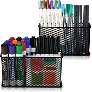 Large Magnetic Locker Organizer Set of 2 - Mesh Pencil Holder Baskets with Extra Strong Magnets - Perfect Marker and Pen Storage Holds Securely Your Whiteboard and Locker Accessories
