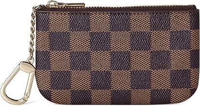 Daisy Rose Luxus Zip Checkered Schlüsselanhänger Pouch | Pu Vegan Leder Mini Geldbörse Geldbörse mit Haken