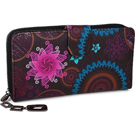 styleBREAKER Monedero con Motivo de Flores étnicas y floración, diseño Vintage, Cremallera, Mujeres 02040040, Color:Azul Oscuro-Azul-Fucsia