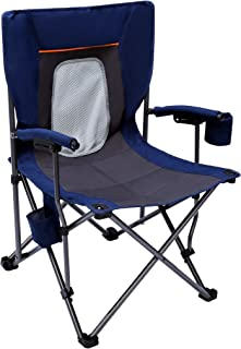 PORTAL Camping Chair Folding Portable Quad Mesh Back with Cup Holder Pocket and Hard Armrest,  Supports 300 Lbs,  Blue,  Regular