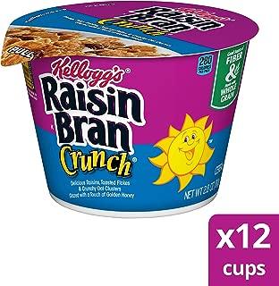 Kellogg's Raisin Bran Crunch, Breakfast Cereal in a Cup, Original, Good Source of Fiber, Bulk Size, 2.8 oz(Pack of 12)