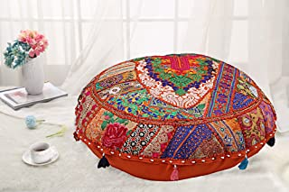 DK Homewares Round Traditional Floor Pillow for Kids Bohemian Orange 22 Inch Patchwork Meditation Pouf Ottoman Home Decor Embroidered Vintage Cotton Indian Floor Cushions for Adults 22x22