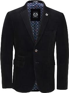 Xposed Mens Soft Corduroy Blazer Coat Vintage Retro Tailored Suit Jacket UK[BLZ-MATTHEW-BLACK-44,Blazer-Black,Chest UK/US ...