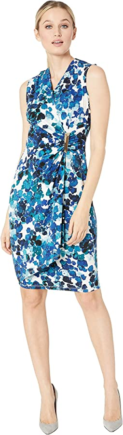 Sleeveless Floral Print Faux Wrap Dress with Side Tab