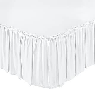 AmazonBasics Ruffled Bed Skirt, 16 Inch Skirt Length, Full, Bright White