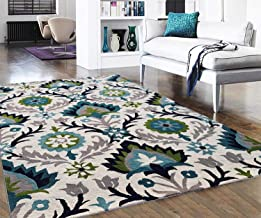 Carpet Craft Floral Carpet for Living Room Bedroom Drawing Room Hall and Floor Size 4x6 feet (120x180 cm) Color Ivory & Blue