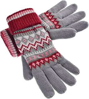 Women's Knitted Winter Gloves with Roll Up Cuffs