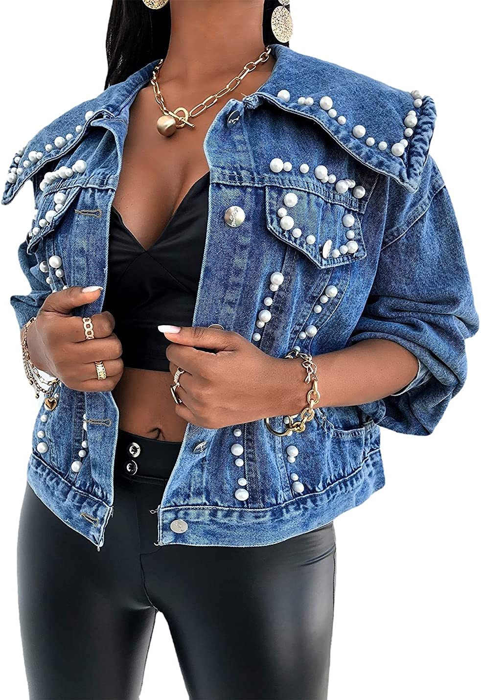 Xishiloft Women's Cropped Denim Jackets Shawl Lapel Long Sleeved Button Embroidered Rivet Pearl Casual Short Coats