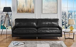 Mid Century Modern Plush Leather Living Room Sofa (Black)