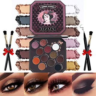 LUXAZA Eyeshadow Palette Browns 12 Colors Matte & Shimmer with Eyeliner & Brushes,Color-match &...