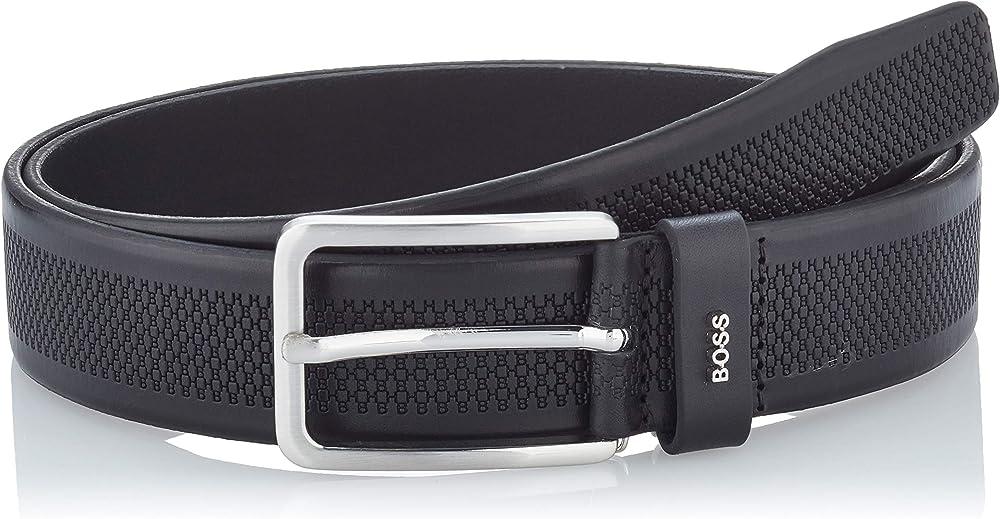 Hugo boss,cintura per uomo, in pelle, con motivo del monogramma stampato 50447186