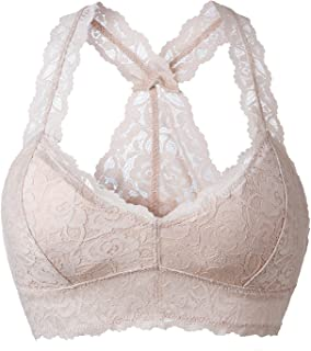 YIANNA Women Floral Lace Bralette Padded Breathable Sexy Racerback Lace Bra Bustier