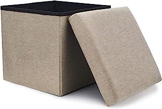 WoneNice Folding Storage Ottoman, Versatile Space-Saving Storage Toy Box with Memory Foam Seat, Max Load 100 kg Linen Beige 12 x 12 x 12 Inch